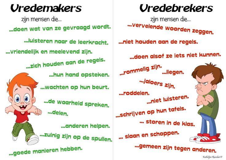 Wie zijn vredemakers en vredebrekers? Goeie poster om in de klas uit te hangen en met de kinderen te bespreken.
