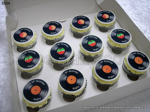 Record Label Cupcakes. For those who remember what a record player is... Boxed selection of buttercreamed topped cupcakes with printed vinyl record discs. Authentic labels and personalised message printed onto each disc