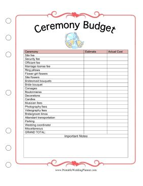 the wedding planner ceremony budget worksheet helps you plan the cost of your wedding site