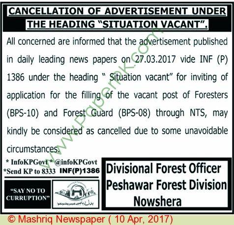 Forest Department Peshawar Jobs