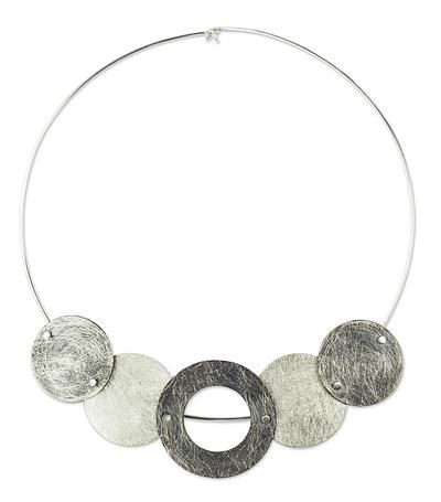 Unique Sterling Silver Choker Necklace - Midnight Eclipses | NOVICA