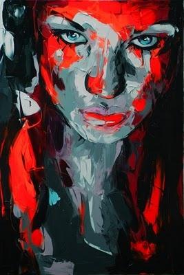 Francoise Nielly    Sus trazos se asemejan a los ejecutados por la espátula agresiva y el pincel grueso con nervio y carácter, a fin de generar dinámicas propias que mezclan extrañas formas y tintajes. Vitalidad y sensualidad, belleza humana de trazos duros, rostros masculinos y femenino.