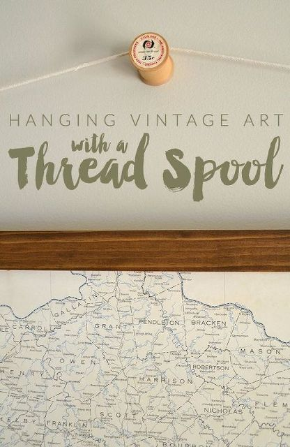 hanging art from a vintage thread spool, crafts, how to, repurposing upcycling, wall decor