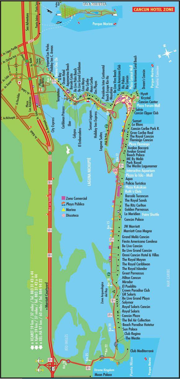 Cancun Hotel Zone Map