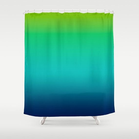 Lime Green Aqua Blue Ombre Shower Curtain / by KaliLaineDesigns