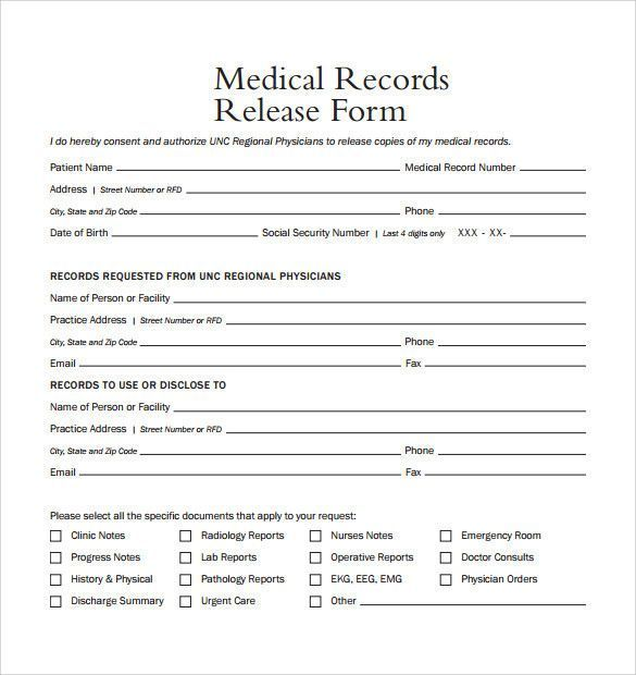 Medical Release Form Template Unusual Sample Medical Records