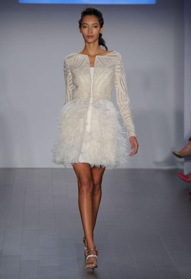 Short Ostrich Feather Wedding Dress | Jim Hjelm Wedding Dresses Spring 2015 | Kurt Wilberding | blog.theknot.com
