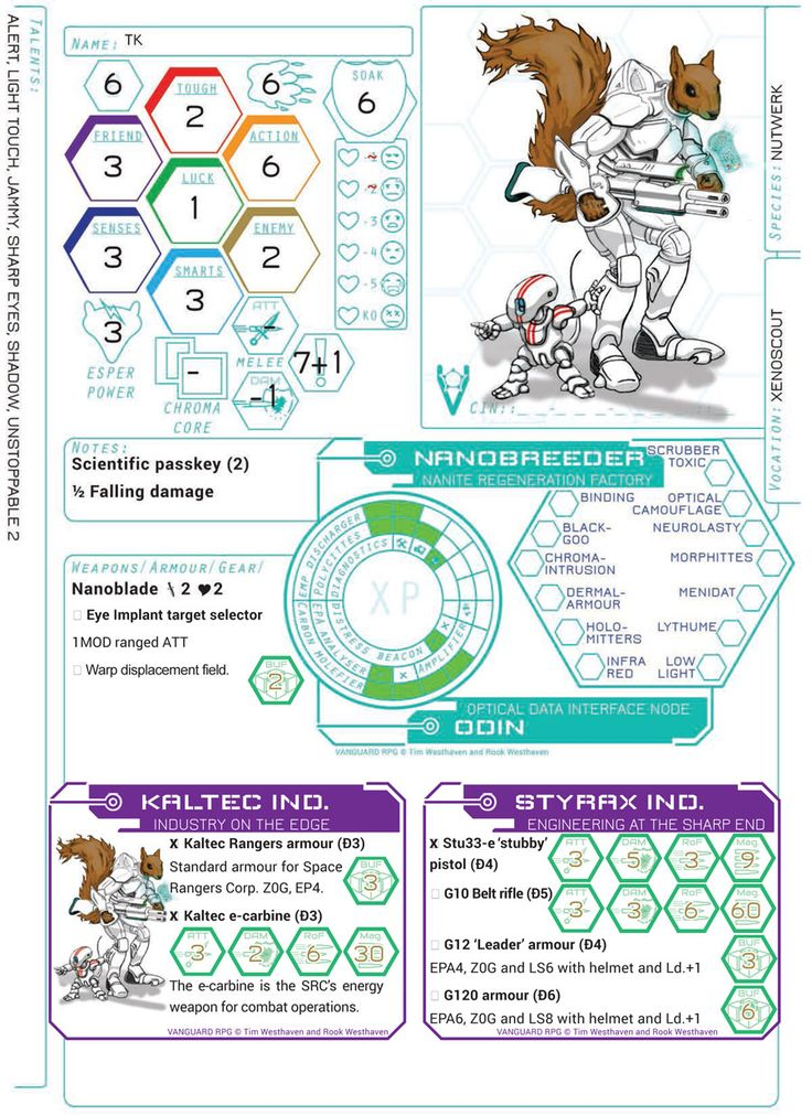 New design character sheet for VANGUARD, keeping it simple and modular with use of reference cards. Coming soon to kickstarter