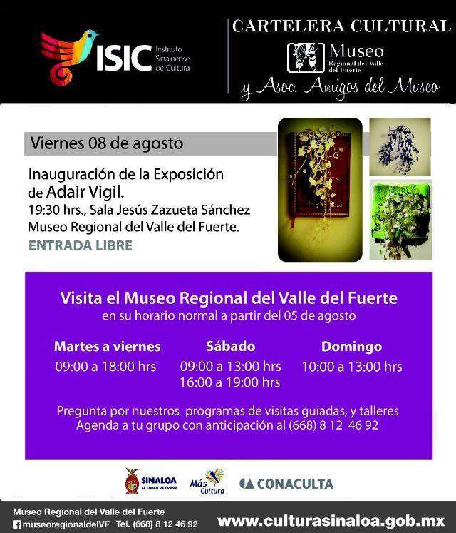 Te compartimos la Cartelera Cultural del Museo Regional del Valle del Fuerte, en Los Mochis.