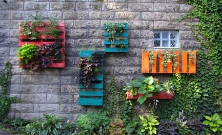 painted pallets vertical garden idea