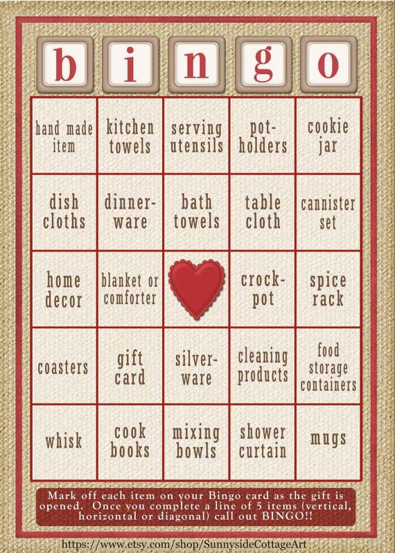 34 card Bridal Shower Bingo game in rustic by SunnysideCottageArt