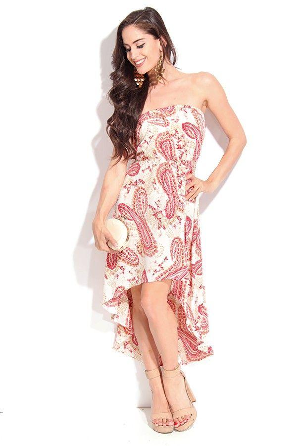 BEIGE PINK STRAPLESS PAISLEY HI-LOW DRESS,Cute Casual Dresses-Casual Dress,Women Casual Dresses,Ladies Dresses,Collared Dress,High Low Dress...