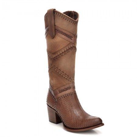 Bota en piel genuina de pitón. Un estilo Western moderno para tus looks más audaces.