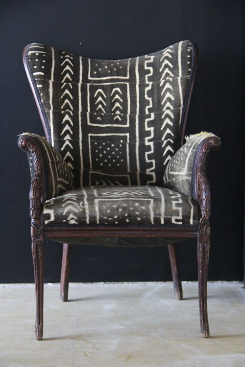 African textile: mud cloth from Mail, West Africa, used to cover armchair. http://brooklyntowest.blogspot.fr