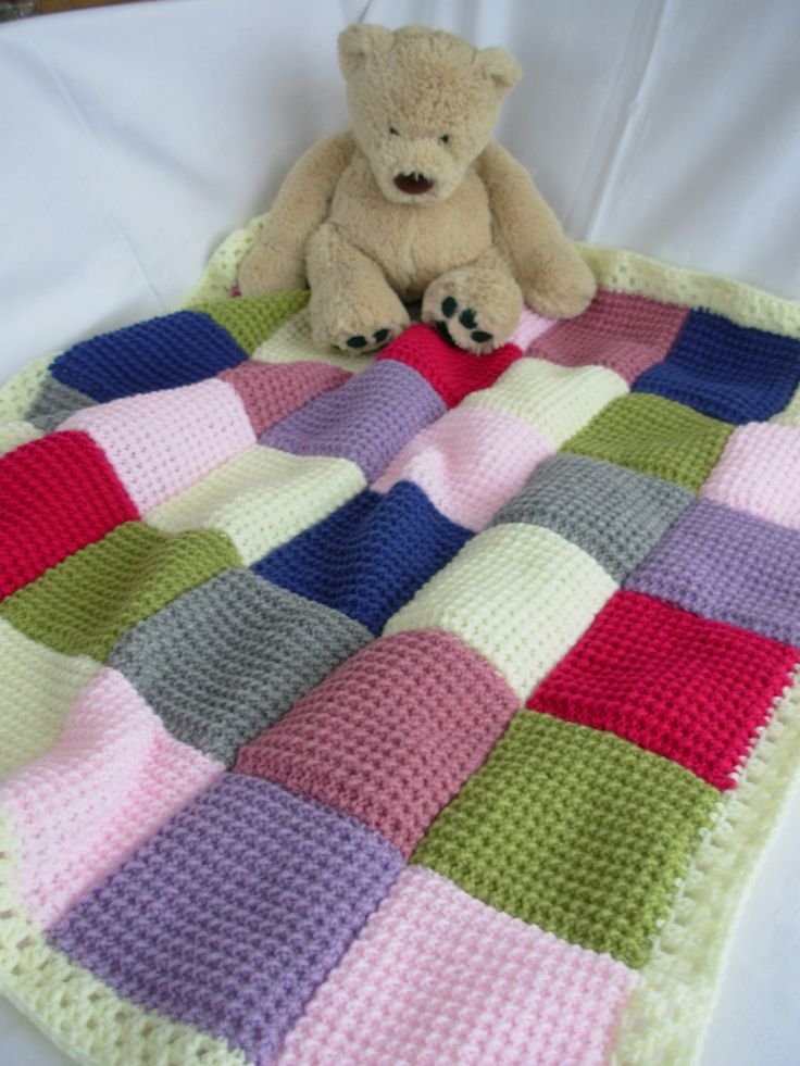 Handmade Knitted Patchwork Baby Blanket - pink, lilac, cream, blue, green, grey