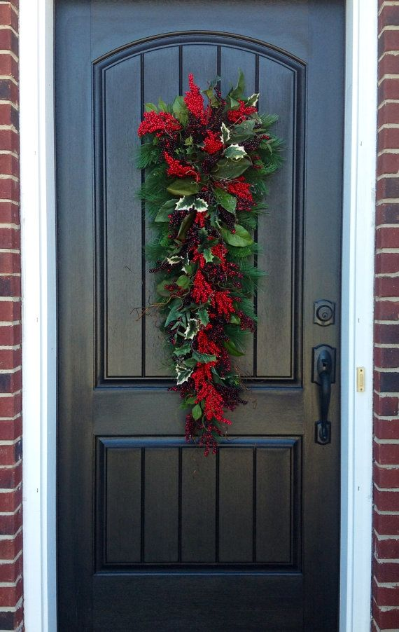 Christmas Wreath-Winter Wreath- Holiday Decor- Vertical- Teardrop Wreath- Door Swag Decor-Seasons Greetings-Cabin Wreath-Rustic Wreath