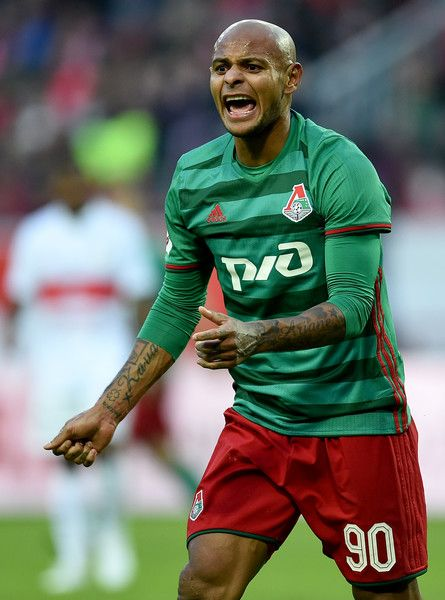 Ari of FC Lokomotiv Moscow reacts during the Russian Premier League match between FC Lokomotiv Moscow v FC Spartak Moscow at Lokomotiv Stadium on March 18, 2017 in Moscow, Russia.