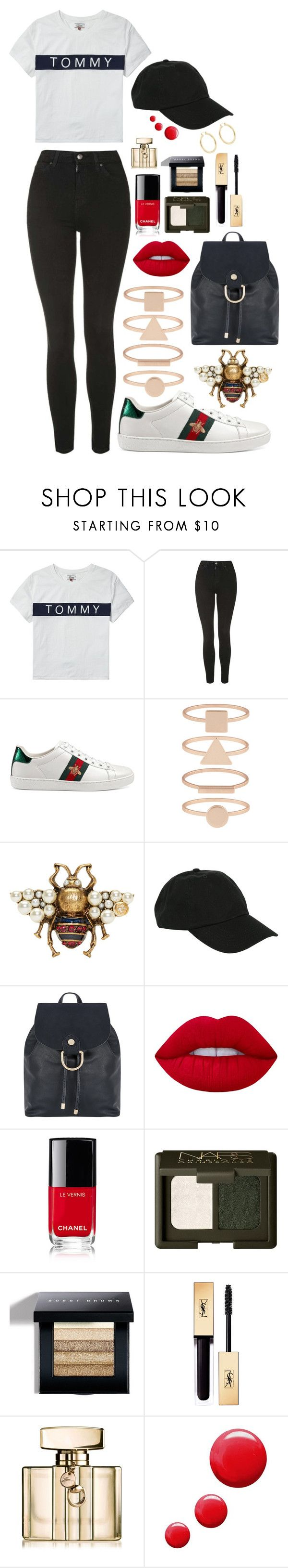 """""""Untitled #57"""" by rupinderkjawanda ❤ liked on Polyvore featuring Tommy Hilfiger, Topshop, Gucci, Accessorize, Hot Topic, Monsoon, Lime Crime, Chanel, Bobbi Brown Cosmetics and Isabel Marant"""