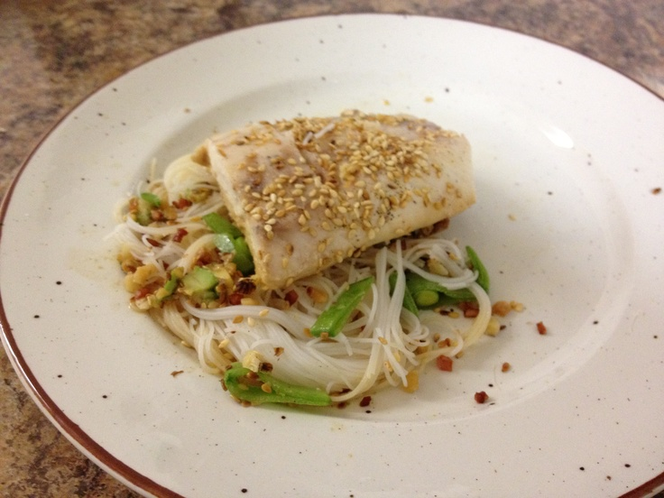 My homemade dish of fish with rice noodle salad and a soy, honey and ginger dressing