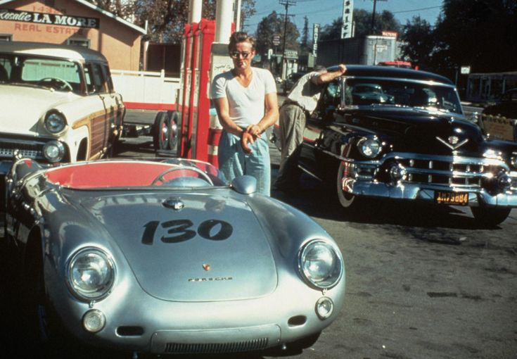James Dean at a gas station with his silver Porsche 550 Spyder he named Little Bastard, just hours before his fatal crash. September 30, 1955.