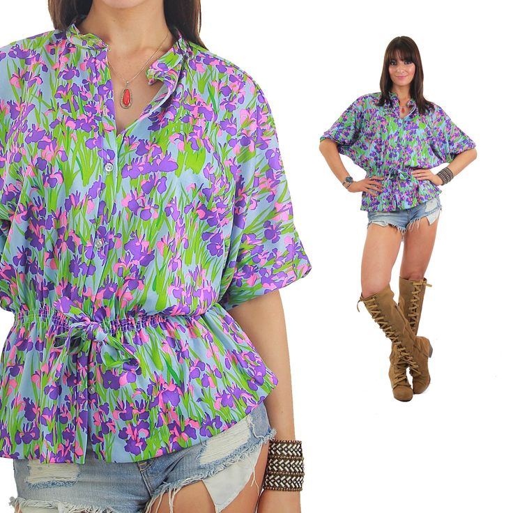 Vintage 70s Floral blouse Peasant blouse neon shirt Festival shirt Hippie shirt Boho shirt Gypsy shirt Purple shirt Tunic top Abstract top by SHABBYBABEVINTAGE on Etsy