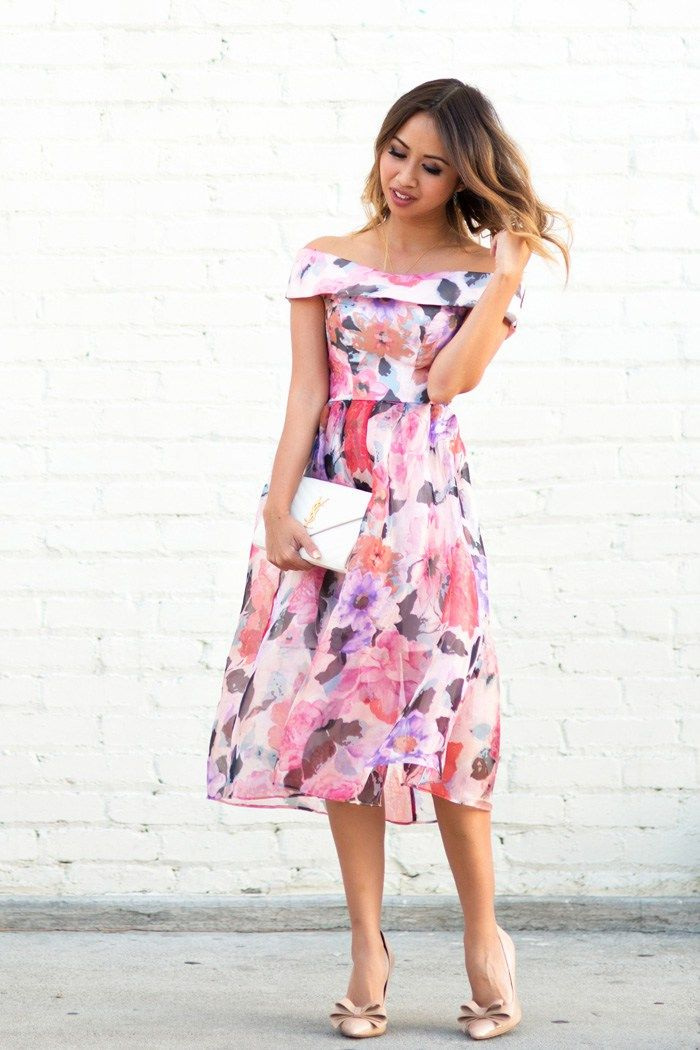 lace and locks petite fashion blogger off the shoulder floral dress wedding guest