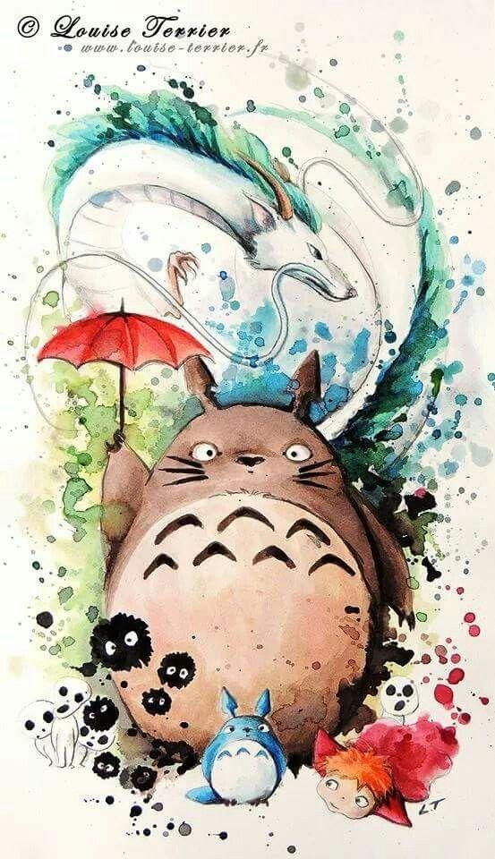Tonari no Totoro | Ponyo | Sen to Chihiro no Kamikakushi | Studio Ghibli Love the watercolor