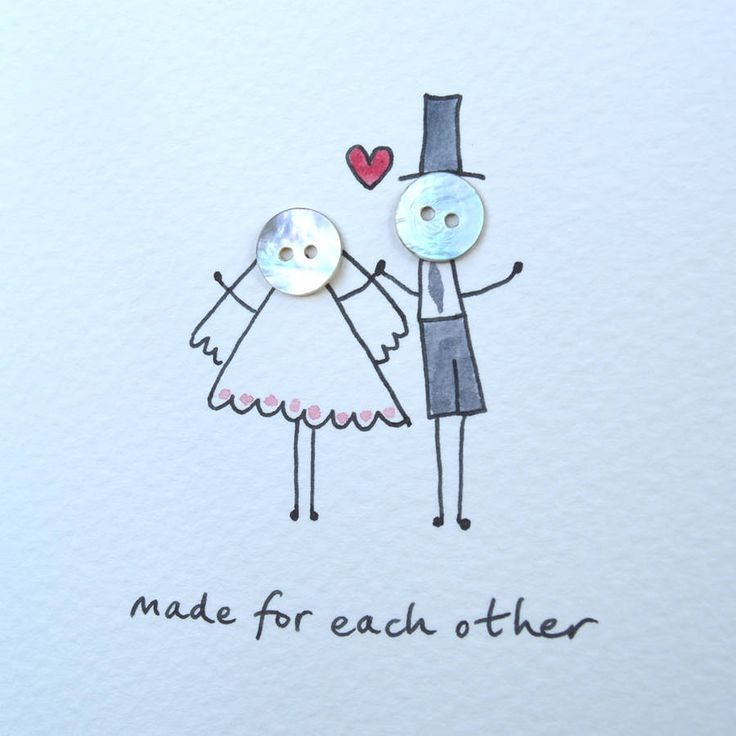 Personalised 'Button Wedding' Hand Illustrated Card