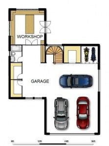 don't own 3 cars & 2 bikes but to right of staircase could be a storage room & taking out the third car bring the whole paln down