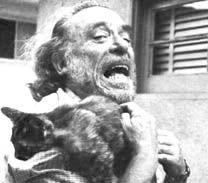 Bukowski and kitty practice shocking the literary establishment.