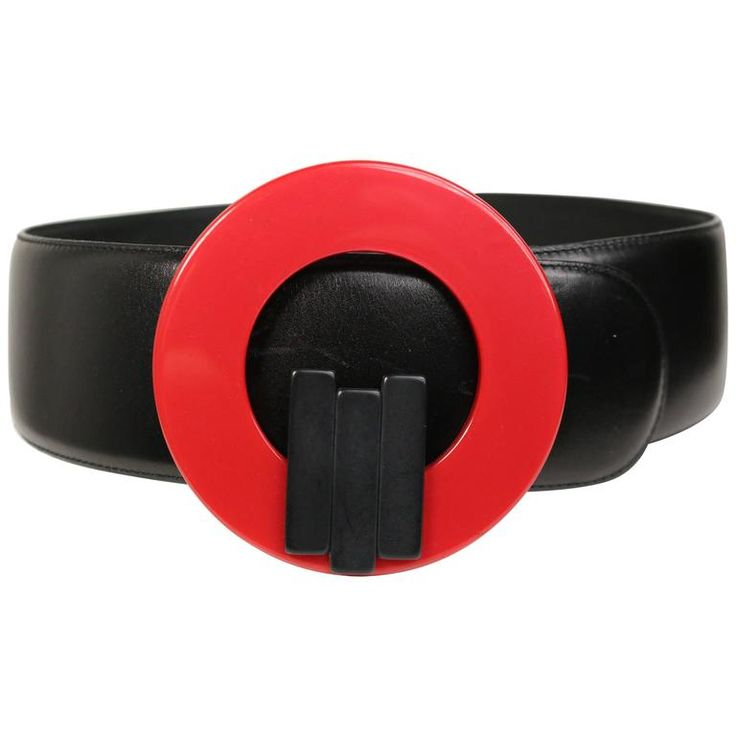 Charles Jourdan Red Buckle Black Leather Belt | 1stdibs.com