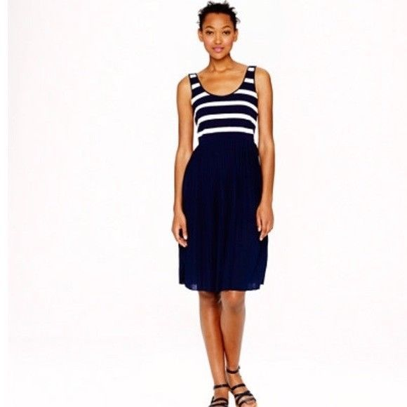 2309f773454 J. Crew Womens Sz 4 Navy White Pleated Knit Dress in Stripe Sleeveless  A7558  fashion  clothing  shoes  accessories  womensclothing  dresses (ebay  link)