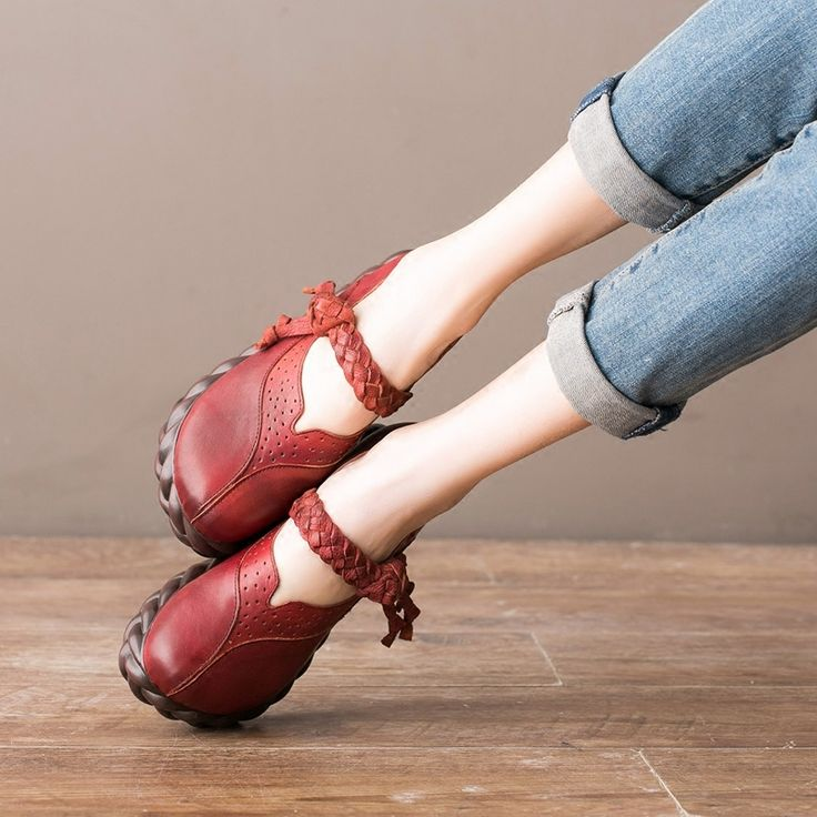 101.67$  Watch now - http://alij0m.worldwells.pw/go.php?t=32791542634 - Designer Spring Womens Red Pumps Sale Genuine Leather Girls Mary Janes Retro Handmade Women Ankle Strap 5CM Heel Wedge Shoes