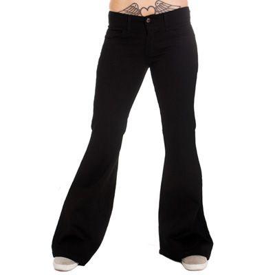Flare jeans wijde pijpen broek dames zwart - Indie Retro 60's 70's
