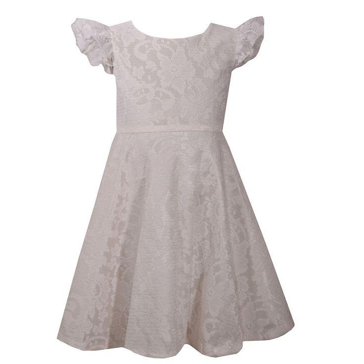 Girls 4-6x Bonnie Jean Lace Heart Back Dress, Size: 6X, Natural