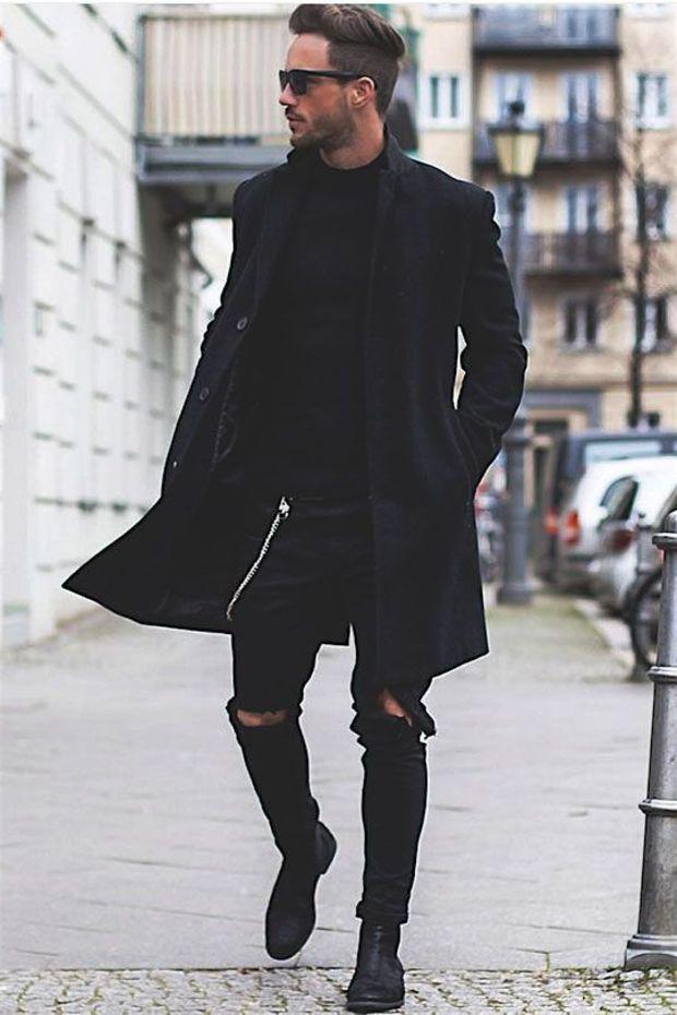 Young Urban Male! Men's Casual Street Styles. All Black ensemble from Shades to Ripped Jeans to Boots