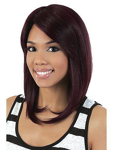 """Promoción Vogue pelucas del afroamericano medio liso sintética pelucas para mujeres negras de 12 """" Deep Color vino On caliente pelo tienda comprar en ..."""