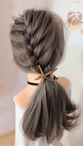Lateral braided ponytail hairstyle ,  ,  #Braided #Hairstyle #Lateral #Ponytail