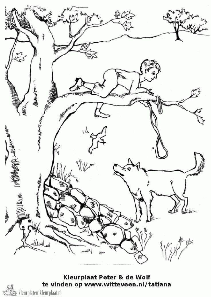 Kleurplaat Peter en de wolf
