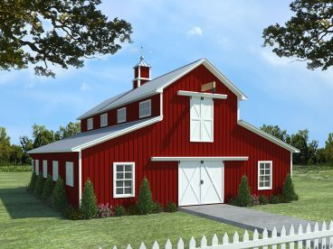 Barn Plan With Apartment, 001B 0001  Horse Barn With Apartment