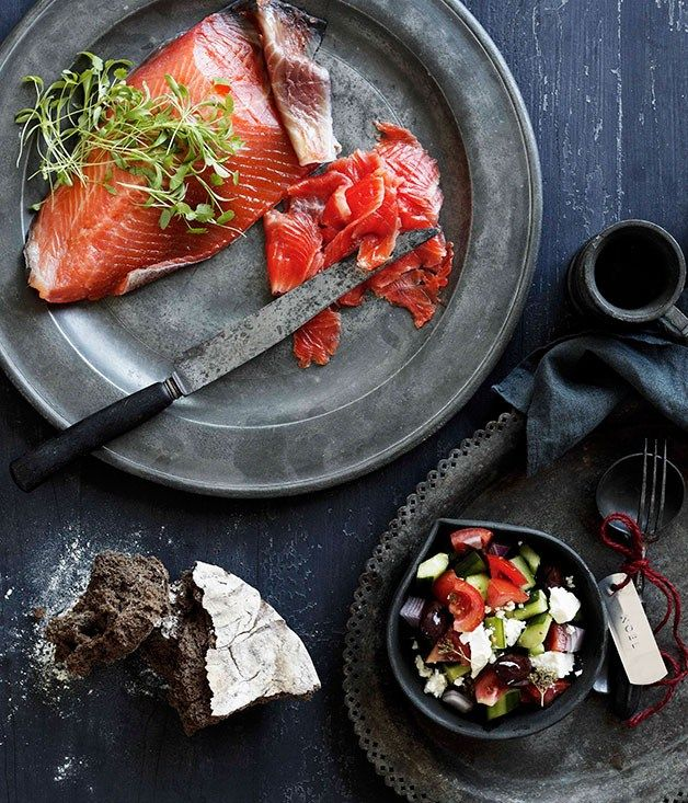 Greek cured ocean trout with village salad - Gourmet Traveller