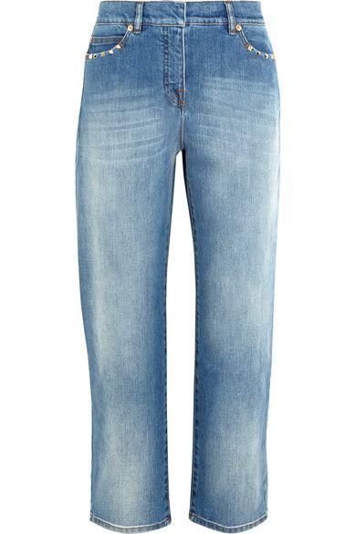 Valentino - Studded Cropped Mid-rise Boyfriend Jeans - Mid denim - 30