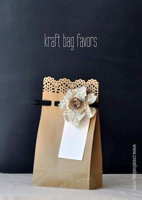 Pretty brown paper bag gift wrap.
