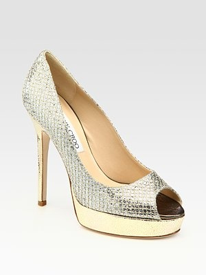 (my wedding shoes) Jimmy Choo  Crown Glitter-Covered Metallic Leather Pumps
