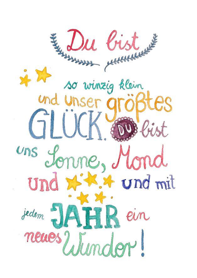 Typo Poster mit Glückwünschen für das Baby / typo artprint, birth by Frau Ottilie via DaWanda.com