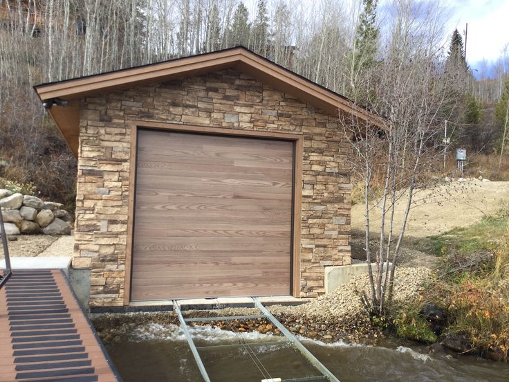 One of customers boathouse with our ledgestone in mountain country DIY