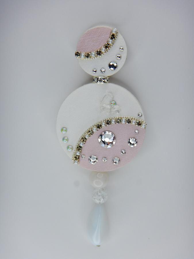 Brooch Love, Swarovski, minerals, pearl white, pink, wedding