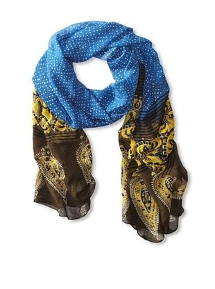 59% OFF MILA Trends Women's Chiffon Bandini/Hand Block Print Scarf, Blue/Black, One Size
