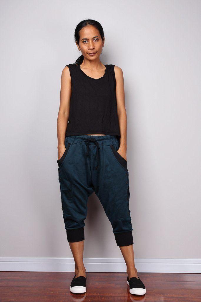 Comfy Jogger pants, low crotch pants, teal pants, lounge pants