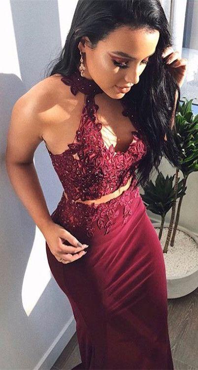 gorgeous two piece burgundy mermaid long prom dress, 2018 prom dress formal evening dress #longpromdresses